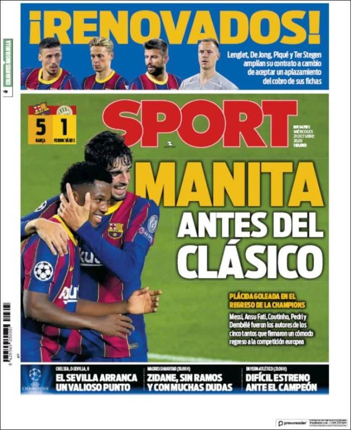 Portadas Diarios Deportivos Miércoles 21/10/2020