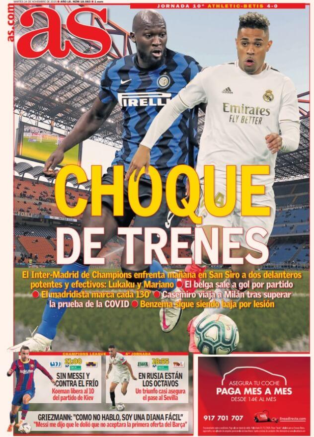 Portadas Diarios Deportivos Martes 24/11/2020