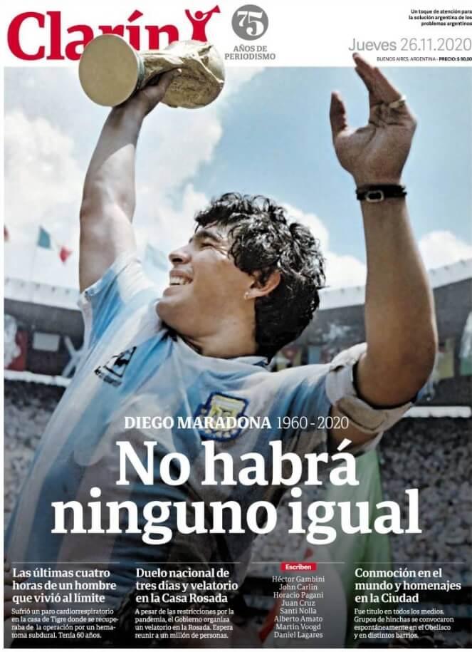 La Prensa Mundial despide a Diego Armando Maradona portadas