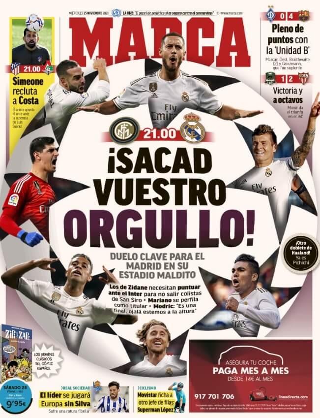 Portadas Diarios Deportivos Miércoles 25/11/2020