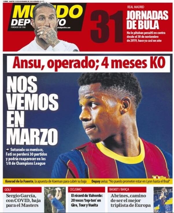 Portadas Diarios Deportivos Martes 10/11/2020