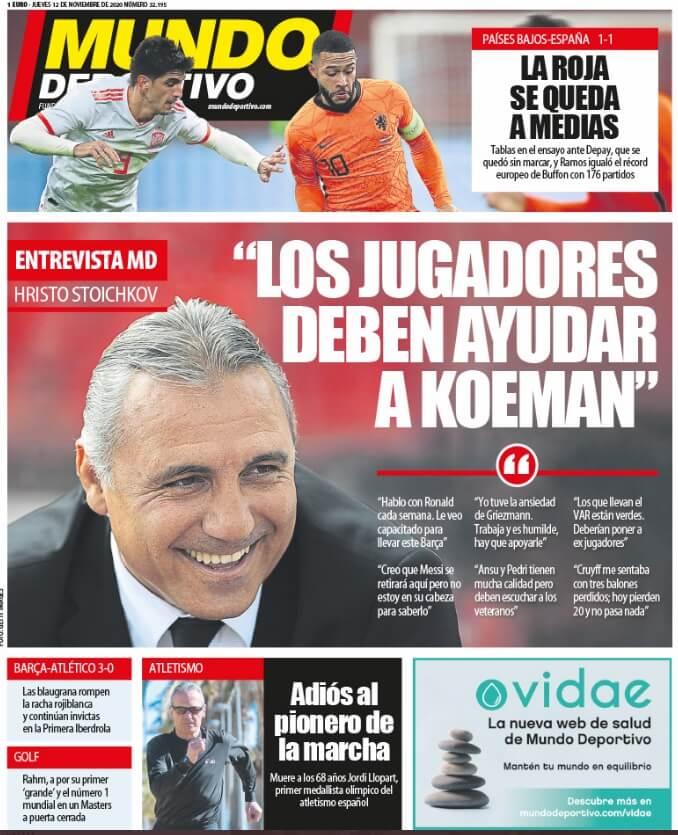 Portadas Diarios Deportivos Jueves 12/11/2020