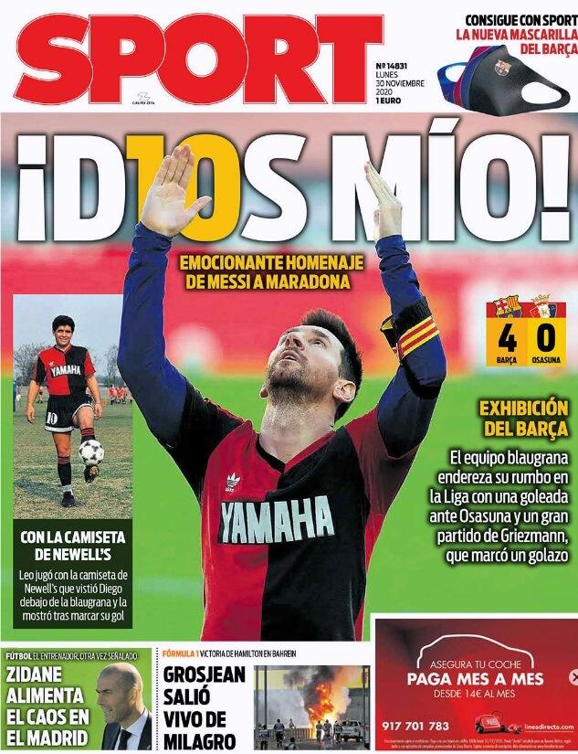 Portadas Diarios Deportivos Lunes 30/11/2020