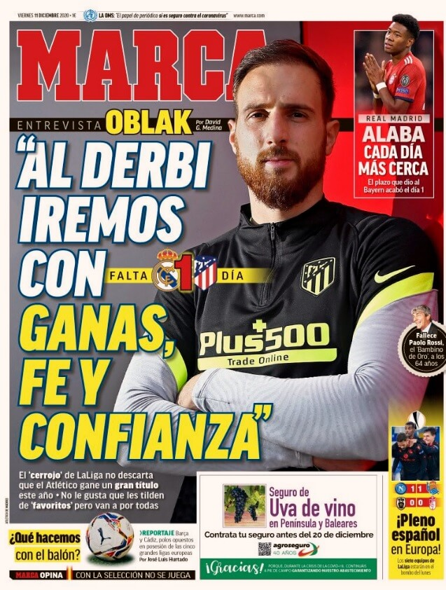 Portadas Diarios Deportivos Viernes 11/12/2020