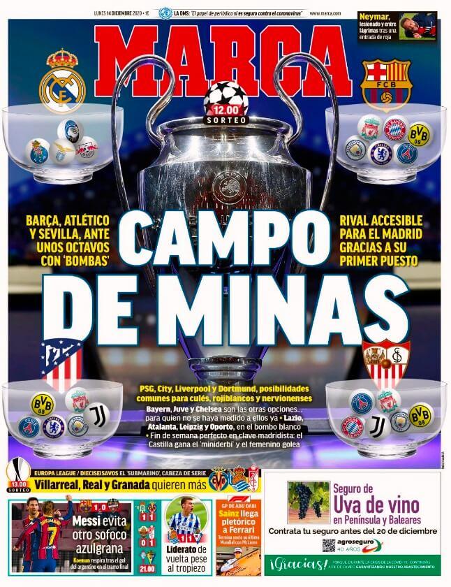 Portadas Diarios Deportivos Lunes 14/12/2020