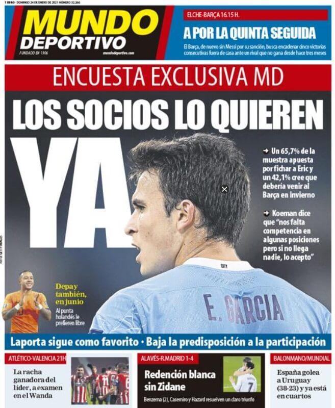 Portadas Diarios Deportivos Domingo 24/1/2021