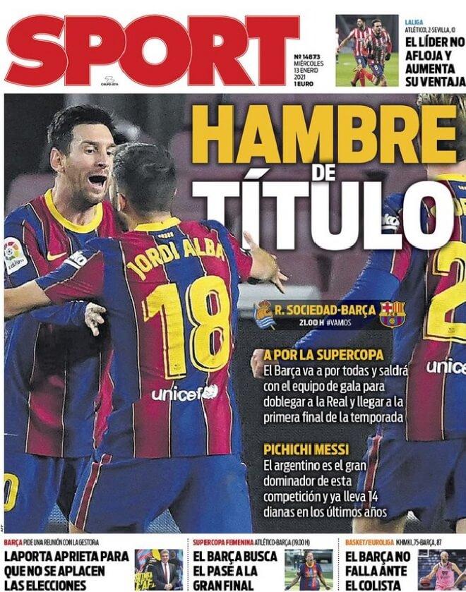 Portadas Diarios Deportivos Miércoles 13/1/2021