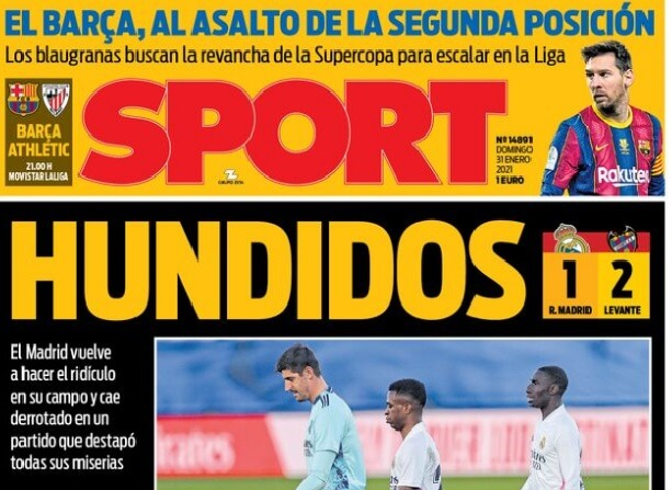 Portadas Diarios Deportivos Domingo 31/1/2021