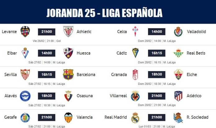 Partidos Jornada 25 Liga Española 2021
