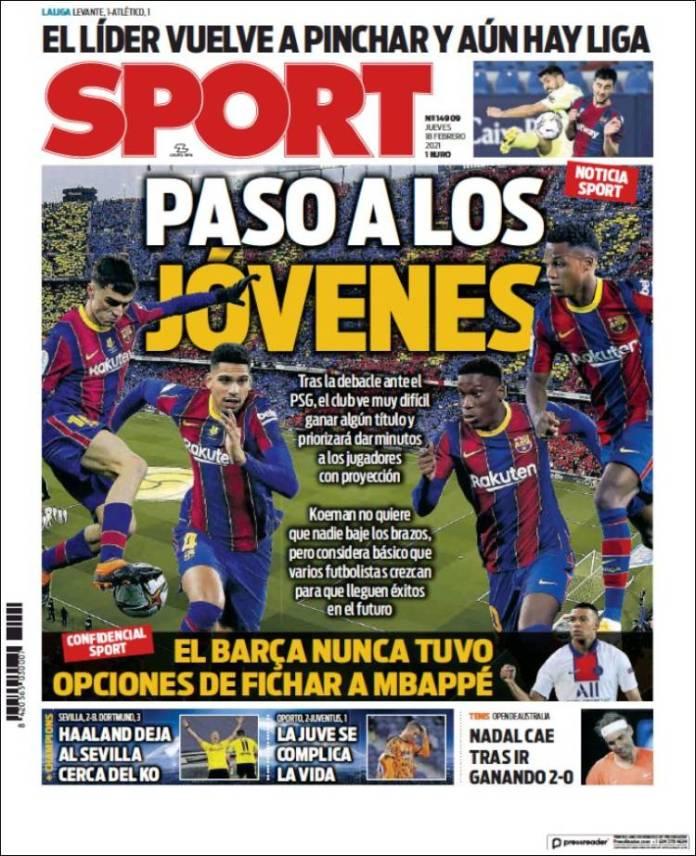 Portadas Diarios Deportivos Jueves 18/2/2021