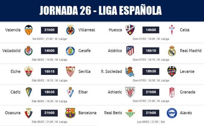 Partidos Jornada 26 Liga Española 2021