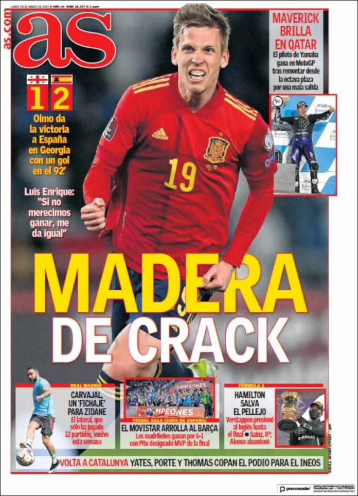 Portadas Diarios Deportivos Lunes 29/3/2021