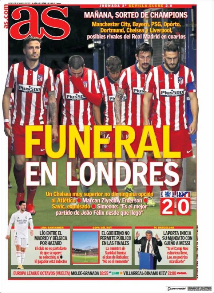 Portadas Diarios Deportivos Jueves 18/3/2021