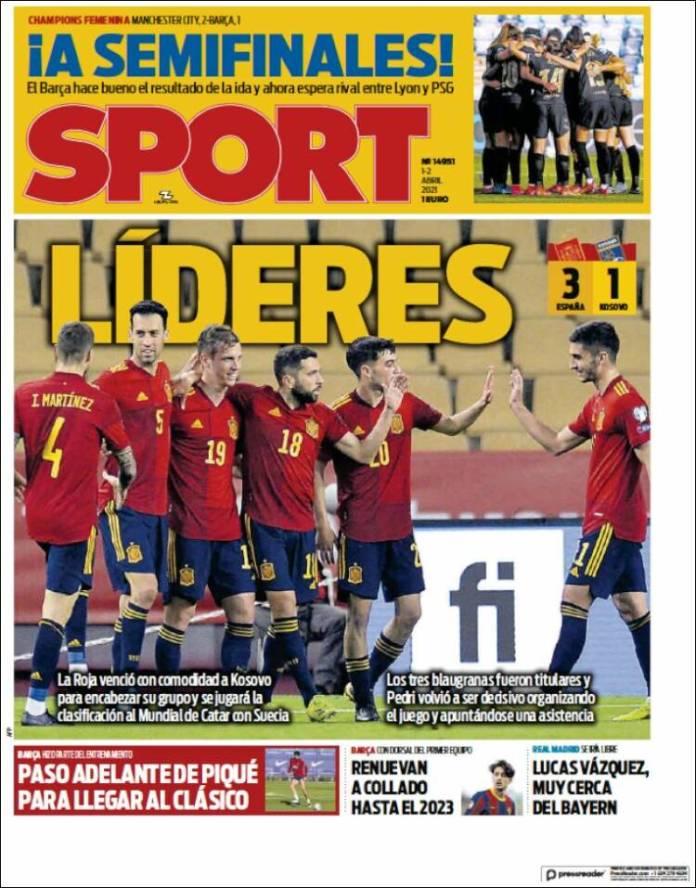 Portadas Diarios Deportivos Jueves 1/4/2021