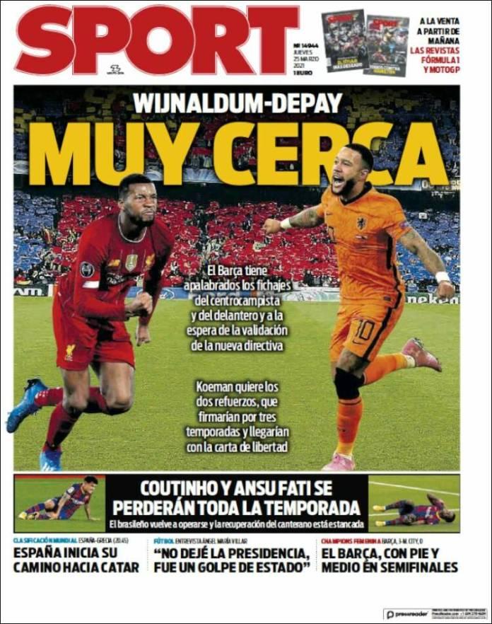 Portadas Diarios Deportivos Jueves 25/3/2021