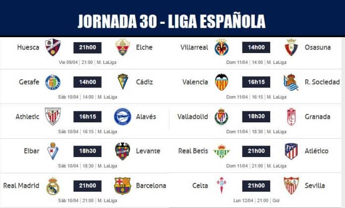 Partidos Jornada 30 Liga Española 2021