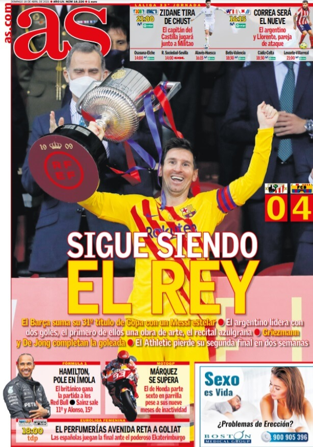 Portadas Diarios Deportivos Domingo 18/4/2021