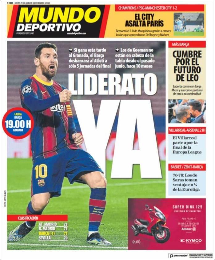 Portadas Diarios Deportivos Jueves 29/4/2021
