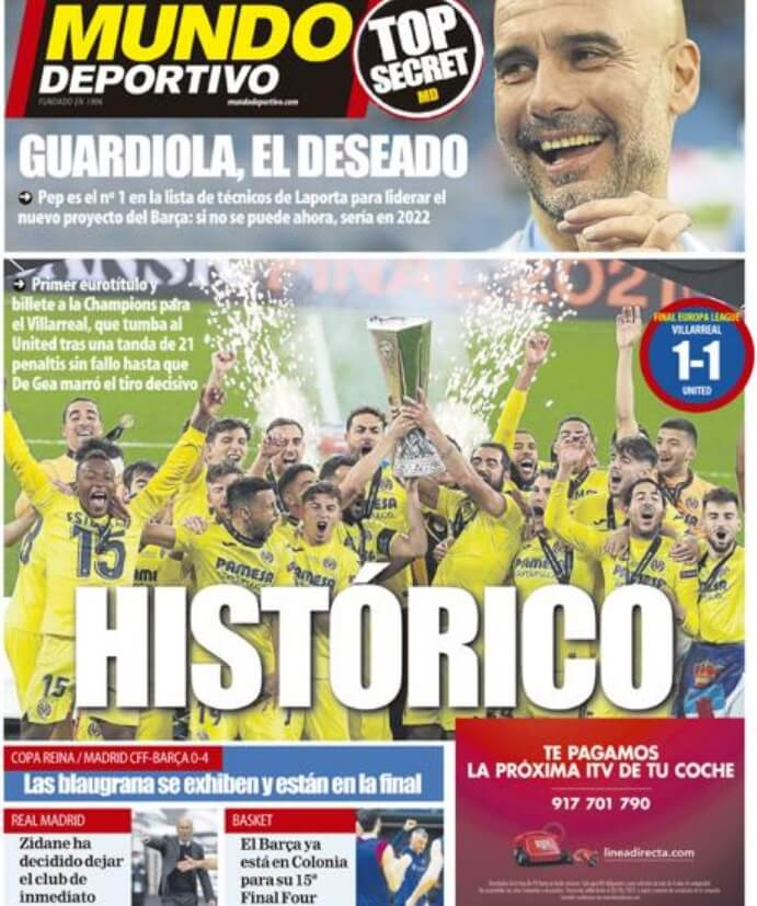 Portadas Diarios Deportivos Jueves 27/5/2021