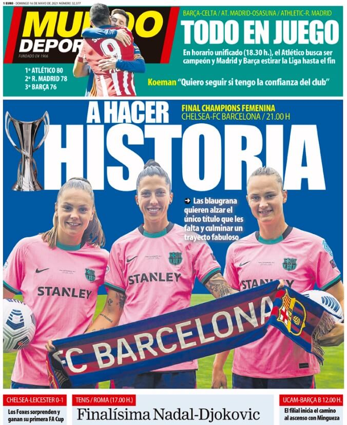 Portadas Diarios Deportivos Domingo 16/5/2021