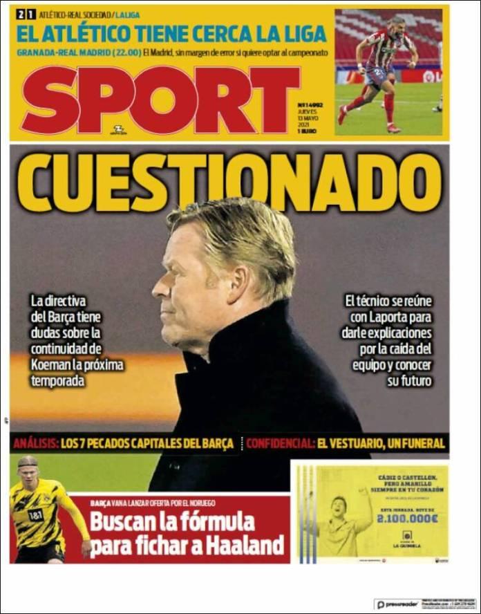 Portadas Diarios Deportivos Jueves 13/5/2021