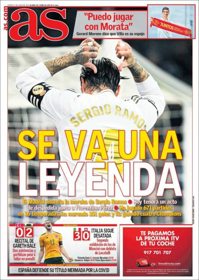 Portadas Diarios Deportivos Jueves 17/6/2021