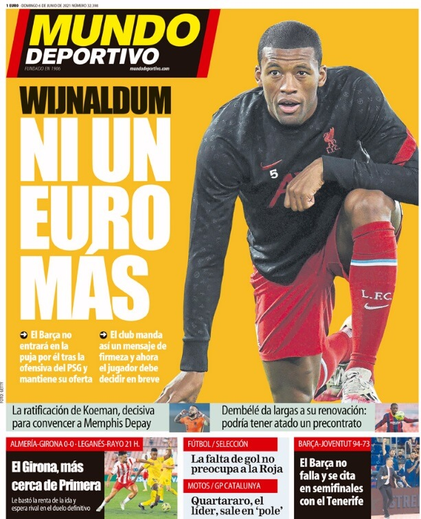 Portadas Diarios Deportivos Domingo 6/6/2021