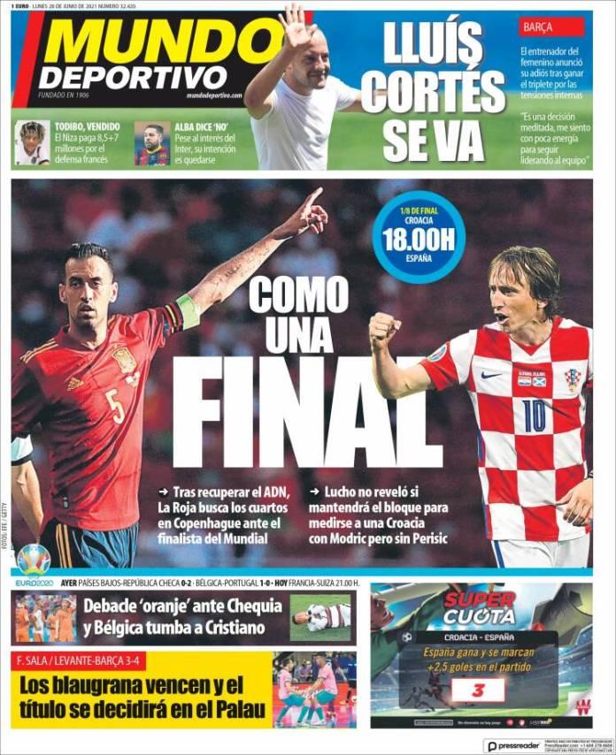 Portadas Diarios Deportivos Lunes 28/6/2021