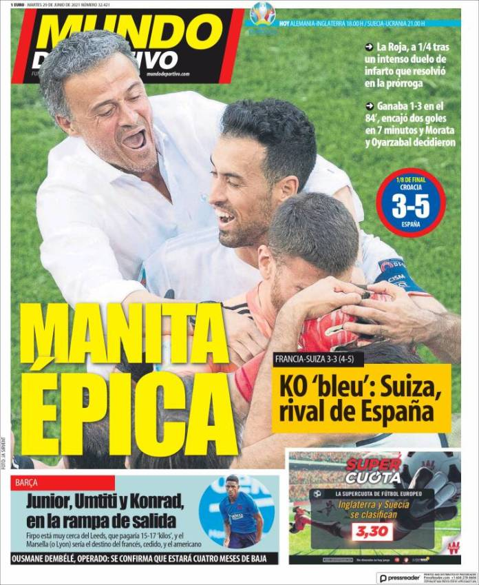 Portadas Diarios Deportivos Martes 29/6/2021