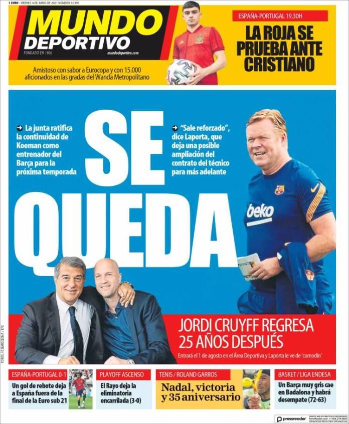 Portadas Diarios Deportivos Viernes 4/6/2021