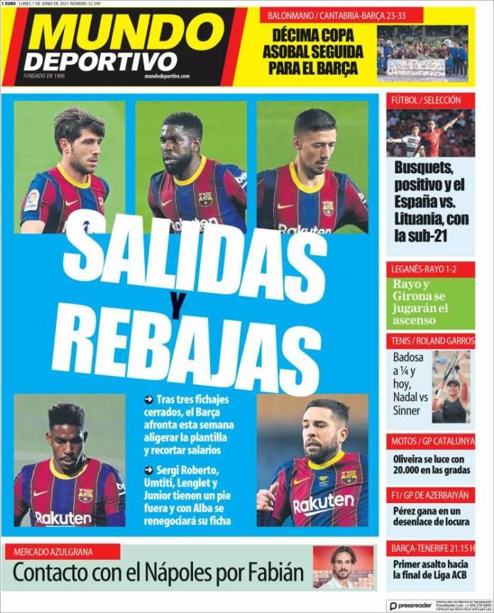 Portadas Diarios Deportivos Lunes 7/6/2021