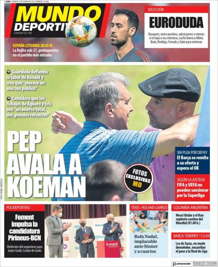 Portadas Diarios Deportivos Martes 8/6/2021