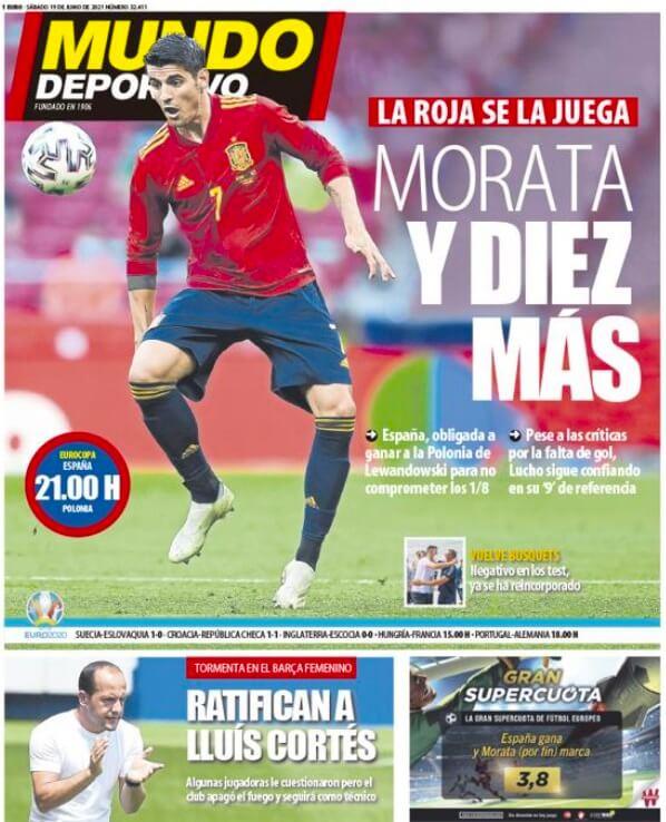 Portadas Diarios Deportivos Sábado 19/6/2021 |
