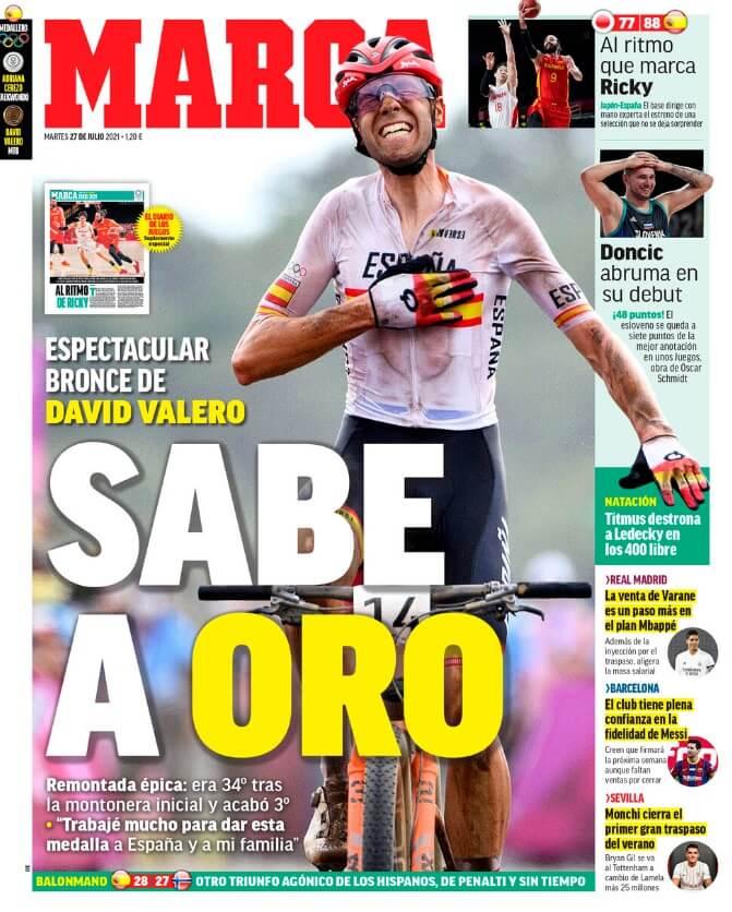 Portadas Diarios Deportivos Martes 27/7/2021