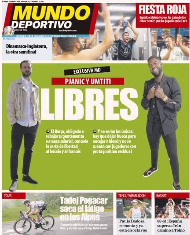 Portadas Diarios Deportivos Domingo 4/7/2021