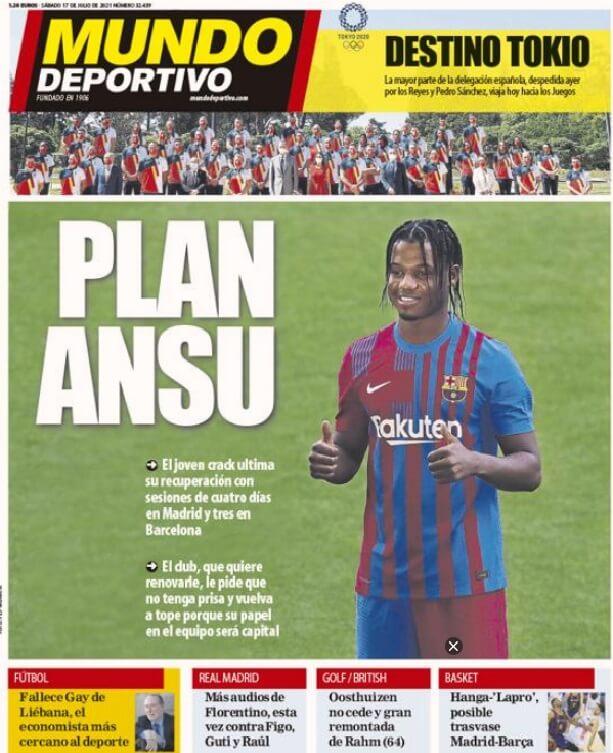 Portadas Diarios Deportivos Sábado 17/7/2021