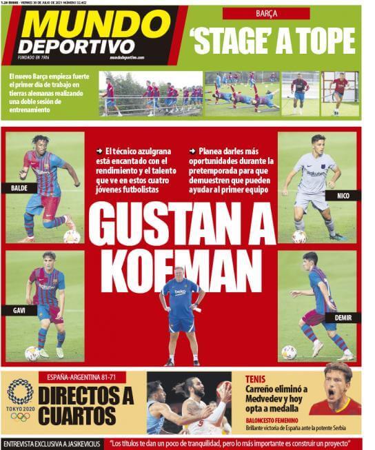 Portadas Diarios Deportivos Viernes 30/7/2021