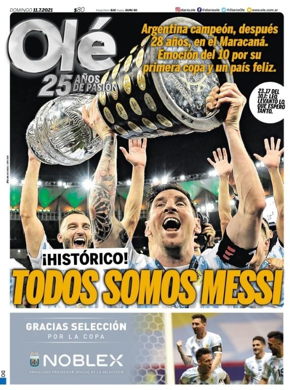 Portadas Diarios Deportivos Domingo 11/7/2021 Messi Campeon Copa america 2021 con Argentina