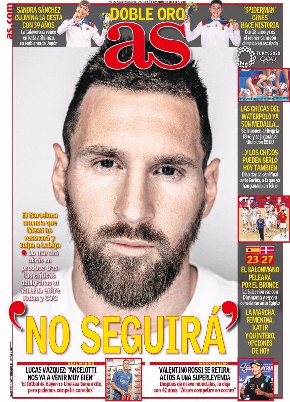 Portadas Diarios Deportivos Viernes 6/8/2021