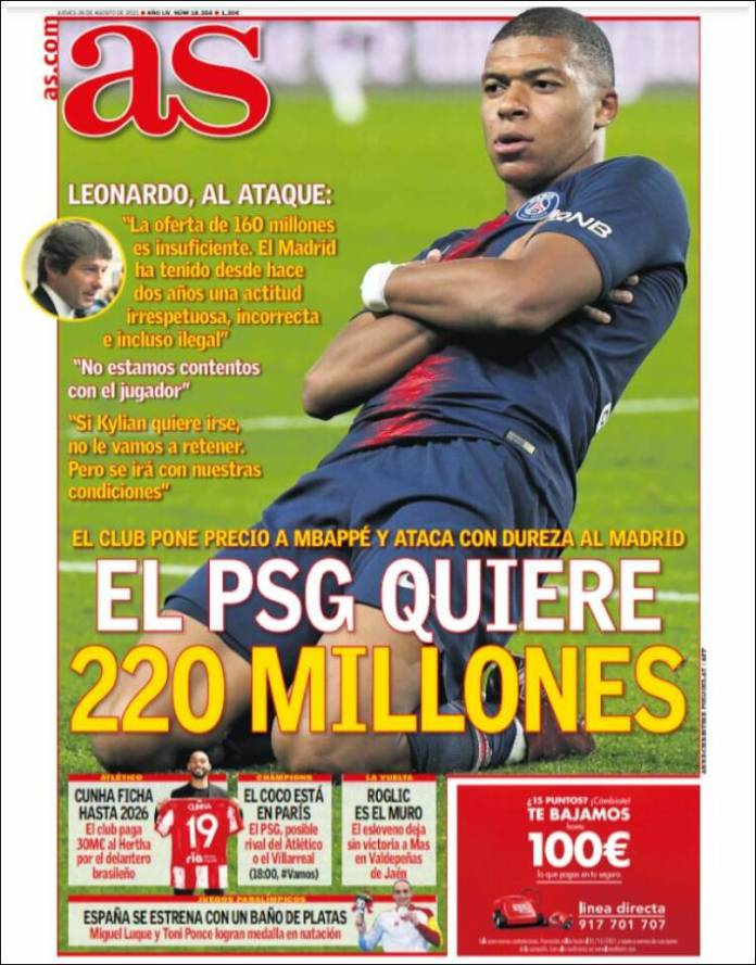 Portadas Diarios Deportivos Jueves 26/8/2021