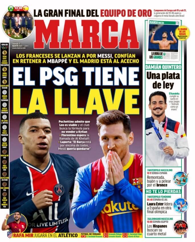Portadas Diarios Deportivos Sábado 7/8/2021