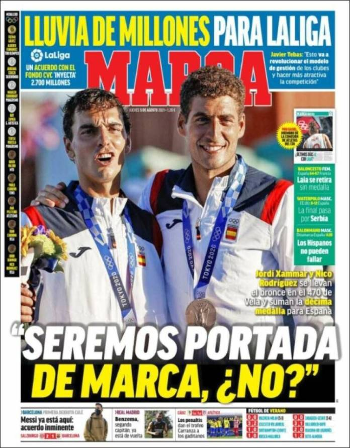 Portadas Diarios Deportivos Jueves 5/8/2021