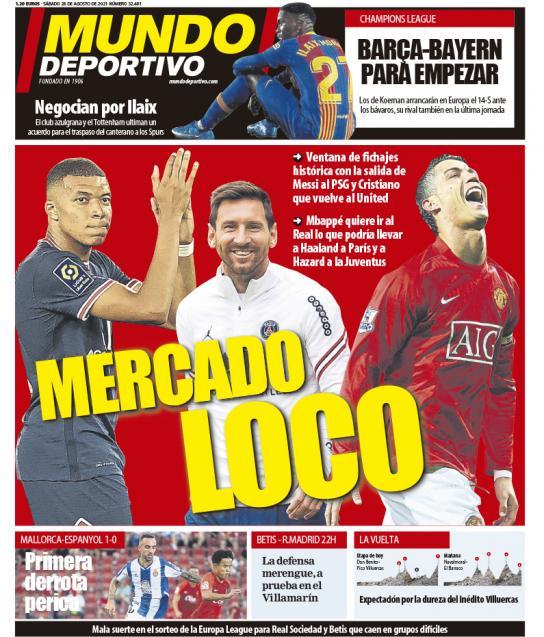 Portadas Diarios Deportivos Sábado 28/8/2021