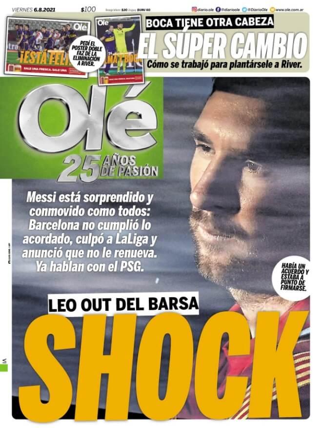 Portada Olé Messi se va del Barcelona