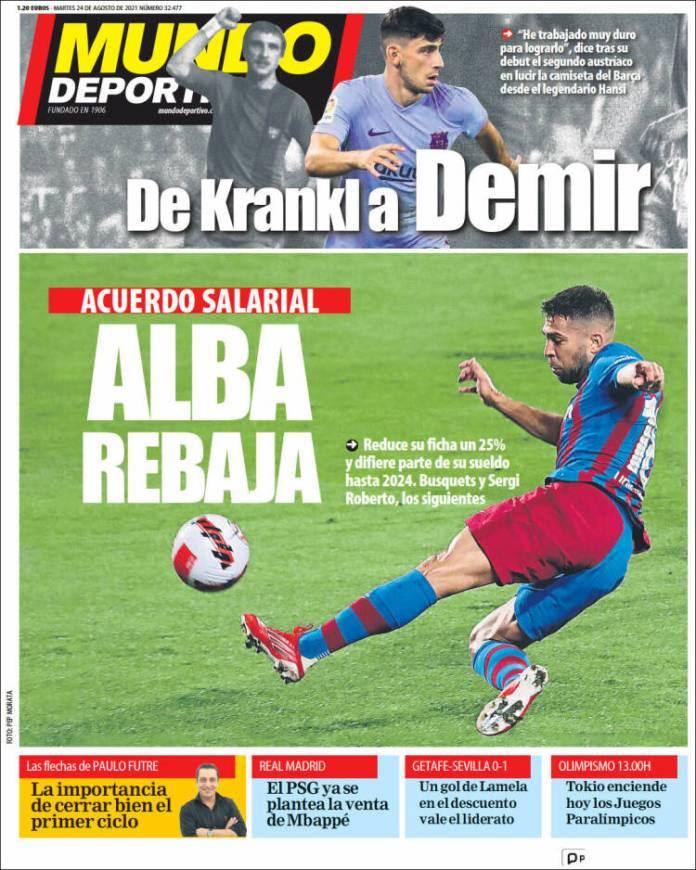 Portadas Diarios Deportivos Martes 24/8/2021