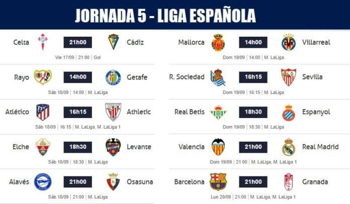 Jornada 5 Liga Santander 2021-22
