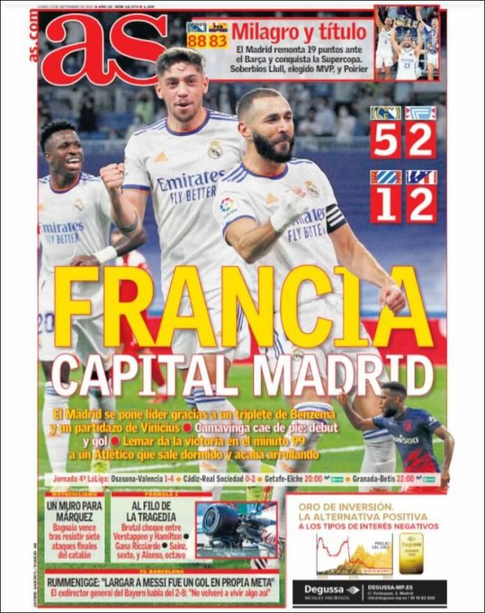 Portadas Deportivas de España 13/9/2021