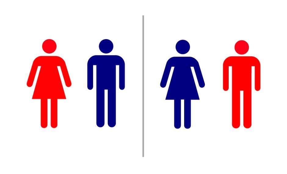トイレの色分け(青色と赤色を男性女性でいれかえてみた)