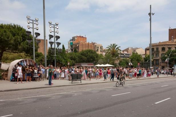 People Outside La Sagrada Familia