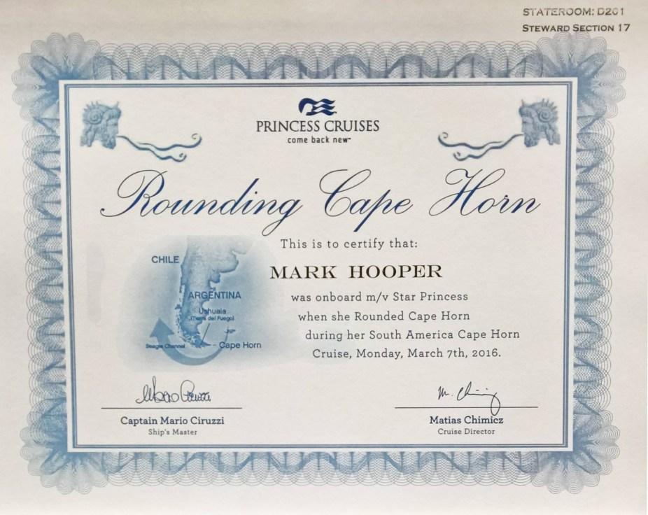 Cape Horn Certificate